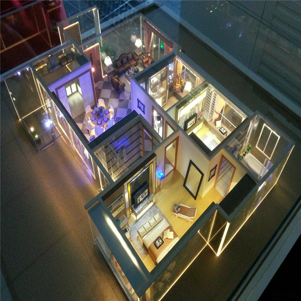 High quality miniature scale model house interior layout model with furniture and led light