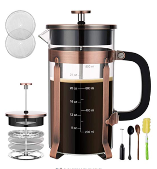 Used as Tea Maker or Cold Brew Coffee Maker french press plunger with Extra Thick Borosilicate Glass Carafe in Gift Box