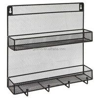 2 Tiers Kitchen Wire Mesh Spice Organizer Rack Wall