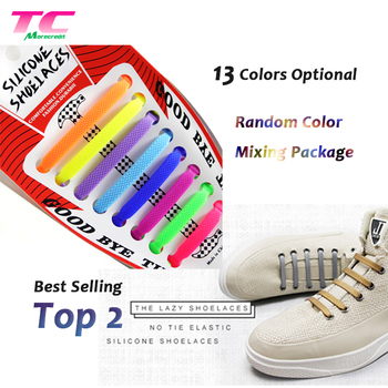 16pcs Waterproof Silicone No Tie Shoelaces Elastic Rubber Flat Shoe String For Adults Sneaker