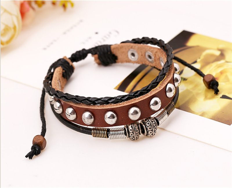 SH-5 Single Row Rivets Weave Leather Bracelets Fashion Leather Bracelets High Quality Bracelets Summer Gifts For Friends