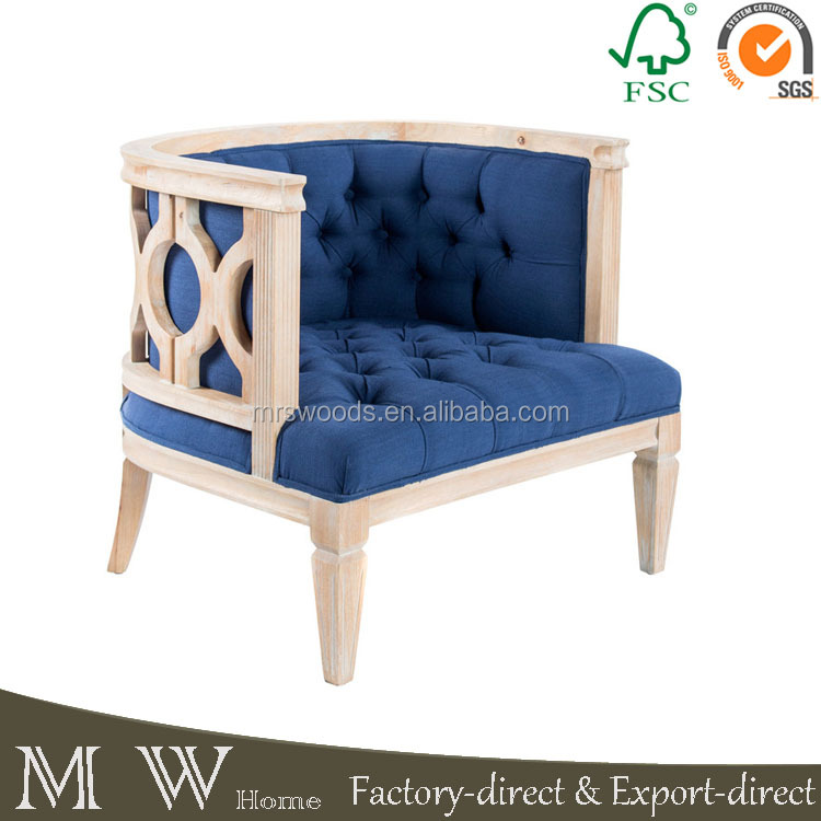 french country tufted navy blue linen antique english style home furniture armchair chesterfield style armchair