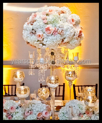 Tall 9 arms crystal candelabra centerpieces with flower bowl for wedding event party