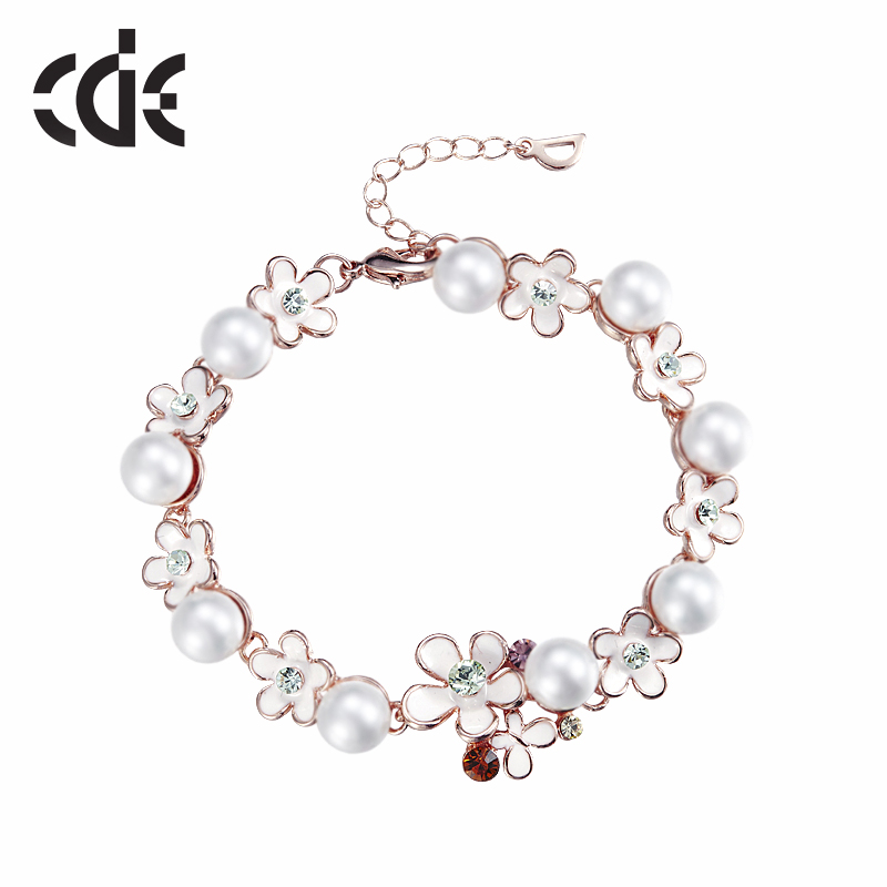 CDE China crystals from Swarovski OEM manufacturer bulk custom alloy chain fresh water pearl bracelet