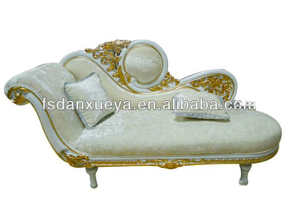 High End Dubai Purple Leather Wood Carved Chaise Lounge One Person Sofa Bed Furniture