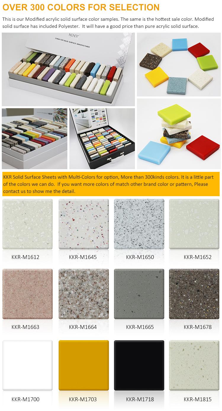 KKR Profesional Batu Buatan Sampel Gratis Dapur Permukaan Padat Akrilik