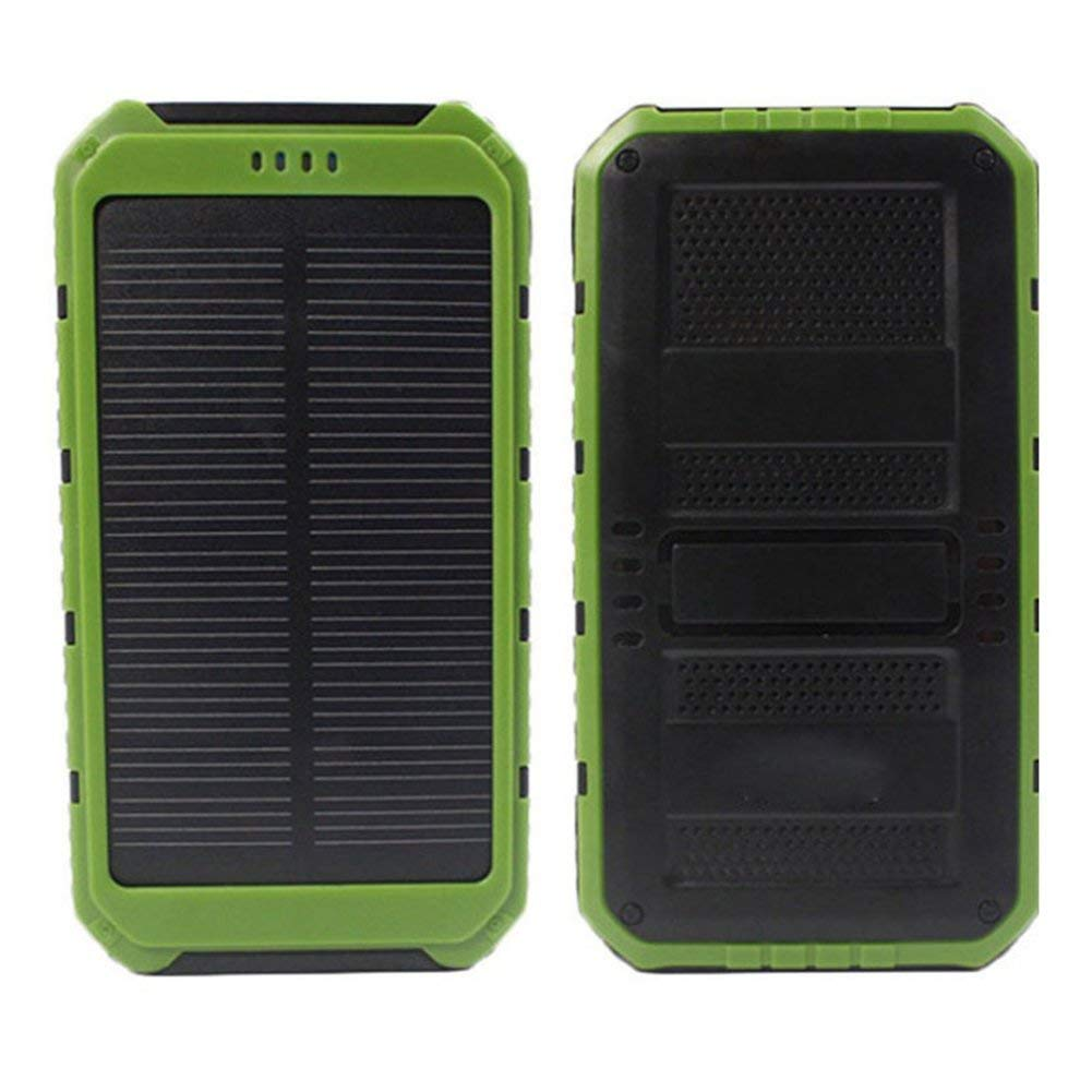 Solar Charger, 10000mAh Portable Power Bank External Battery Mobile Phone Charger Dual USB Quick Charge Power Bank for For iPhone, iPad, Samsung Galaxy and Android Phone(Green)