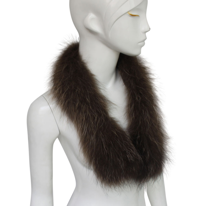 Myfur Women Detachable Real Raccoon Fur Collar Scarf Shawl for Winter Coat