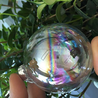 hollow iridescence clear glass balls for Christmas decoration