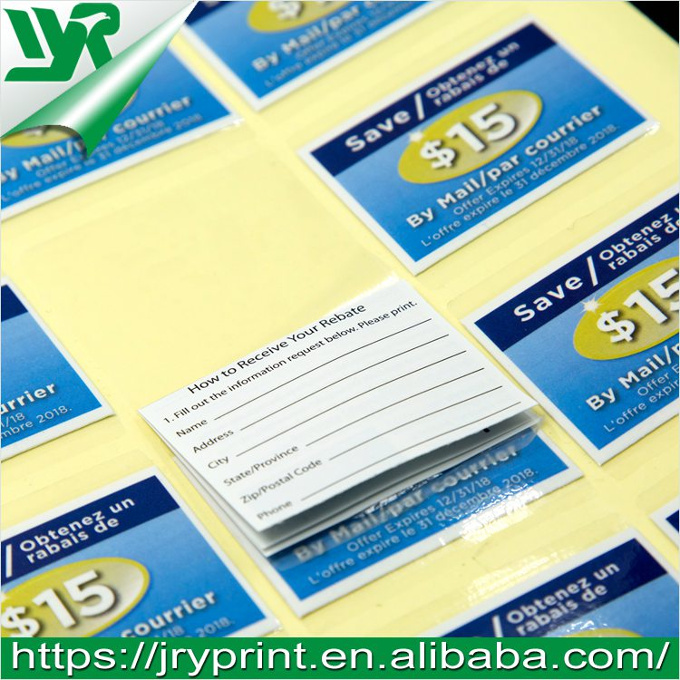JRY custom printing window double sided adhesive stickers