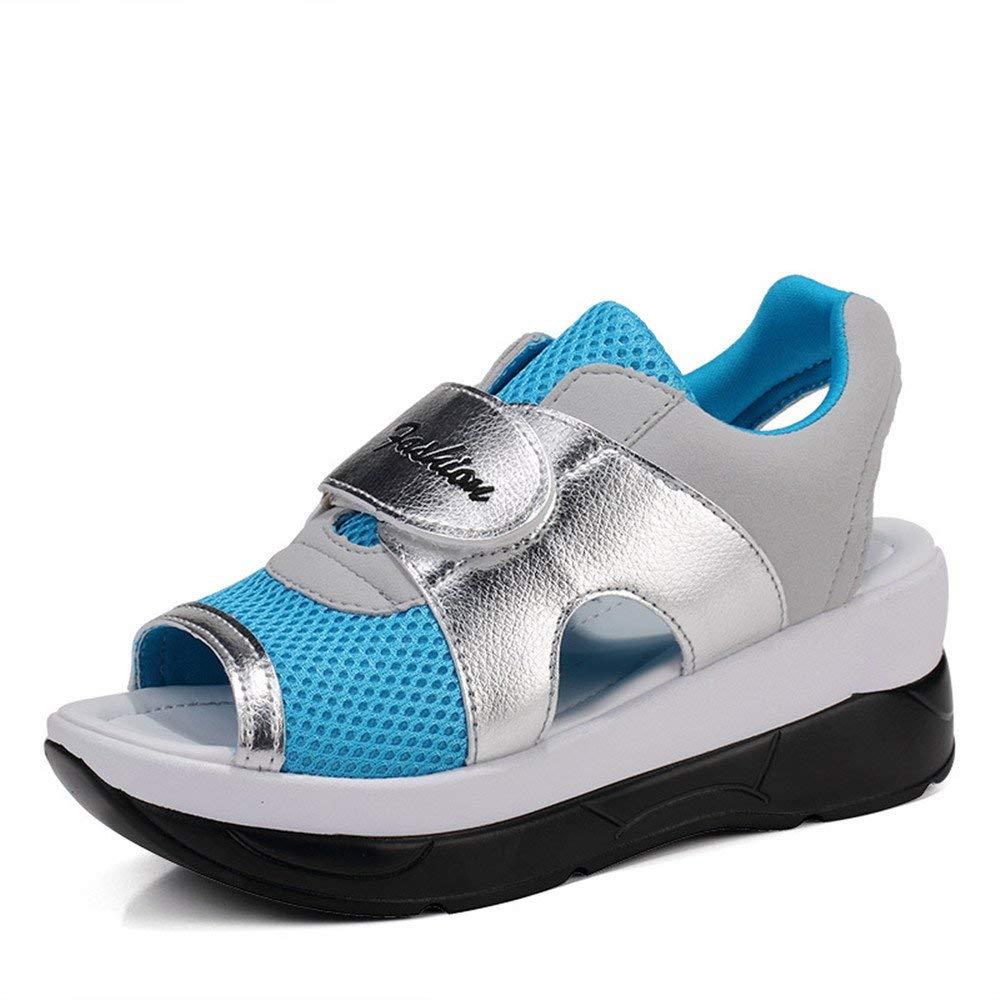 Dolwins Women Platform Sandals Shape Ups Leather Peep Toe Wedges Sandals