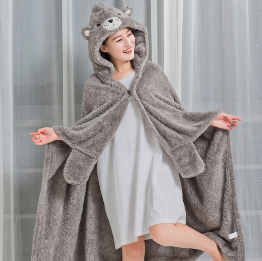 flannel fleece fabric grey throw blanket animal shape hooded blanket for adults