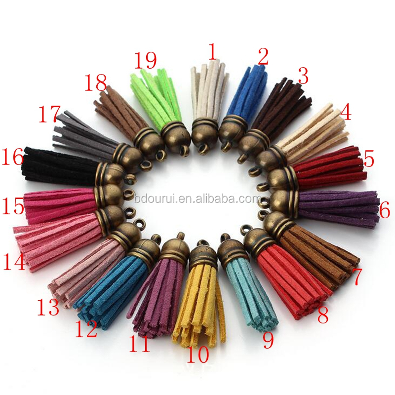 2017free sample imitation leather tassels with metal cap ,faux suede tassels for keychain