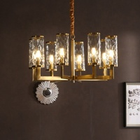 Living room hanging chandelier creative luxury copper glass pendant lamp