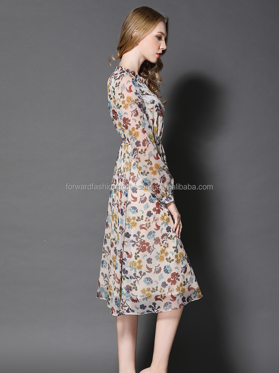e60e4591c8042 Floral Print Rayon Designer One Piece Swing Hem Luxury Female Dress ...