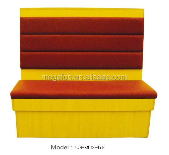 Modern commercial leather sofa booth design for fast food restaurant(FOH-CBCK22)(FOH-XM32-478)
