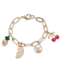 Factory Directly Wholesale Alloy Metal Custom DIY 18K Gold Fruit Cherry Charm Bracelet With Pearls For Promotion