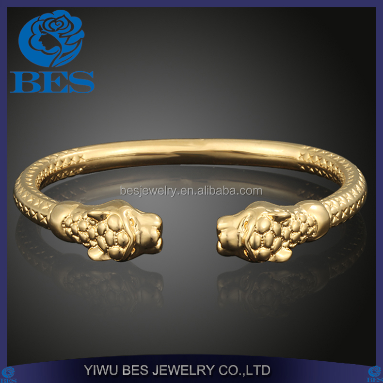 Fashion Copper Jewelry Tiger Head Shape Expandable 18K Gold Plated Cuff Bangle for Men