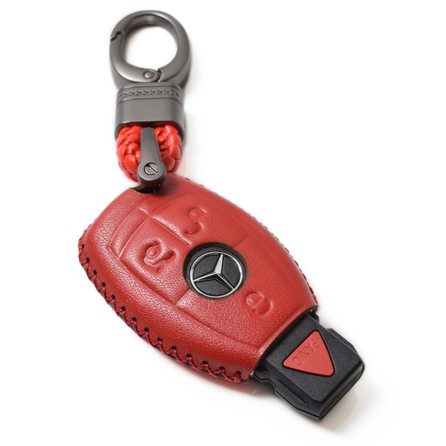 Vitodeco 4 Buttons Leather Keyless Entry Remote Control Smart Key Case Cover with a Key Chain for Lexus Brown