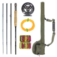 Peche Medium Action Fly Fishing Accessories Set 2.4M 4 Sections Fishing Rod Reel Combo