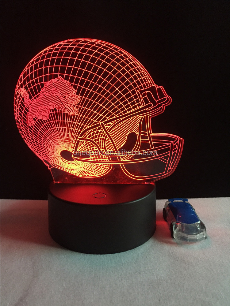 3d creative rugby football led wall sticker night light
