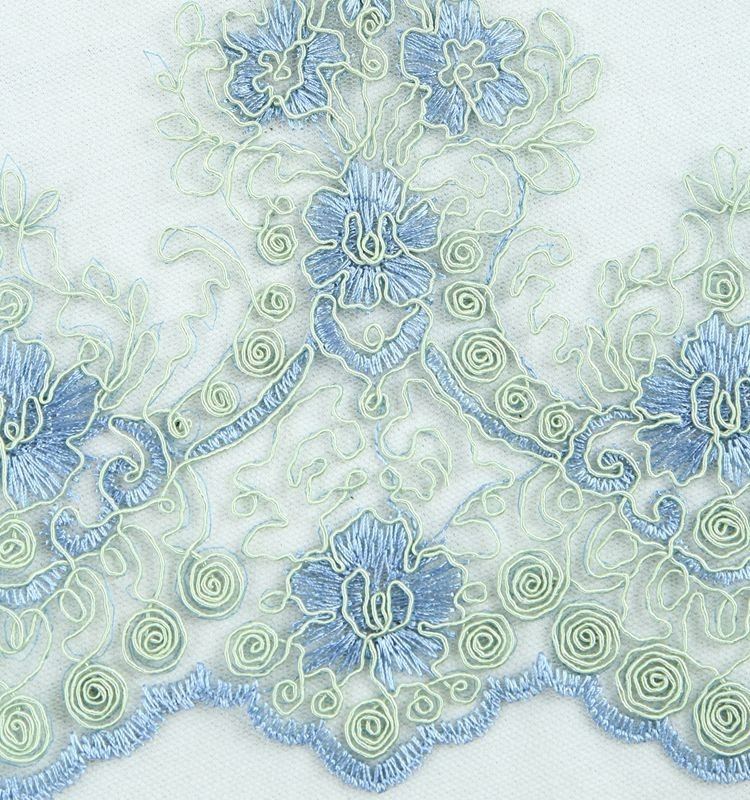 In stock french cord lace scalloped eyelash raschel lace fabric embroidery