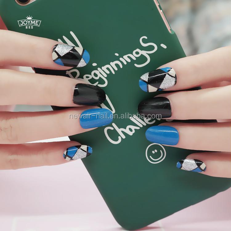 2017 forma oval falso uñas al por mayor arte auto-adhesivo ABS uñas ...