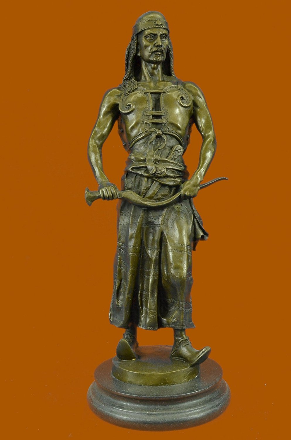 ...Handmade...European Bronze Sculpture Signed Goudray L'Emir Nomadic Arab Middle Eastern Chief Sword (STE-269-UK) Bronze Sculpture Statues Figurine Nude Office & Home Décor Collectibles Sale Deal Gi