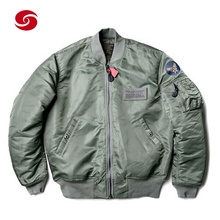 ฤดูหนาว Men Quilted Satin Bomber Jacket