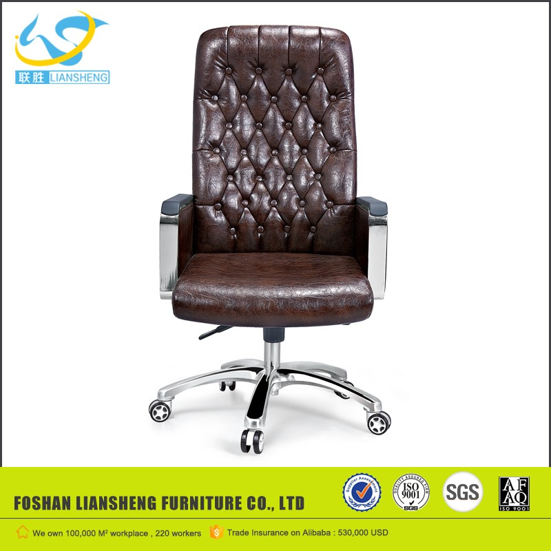 Modern boss office furniture high back brown leather swivel office chair AB-514A