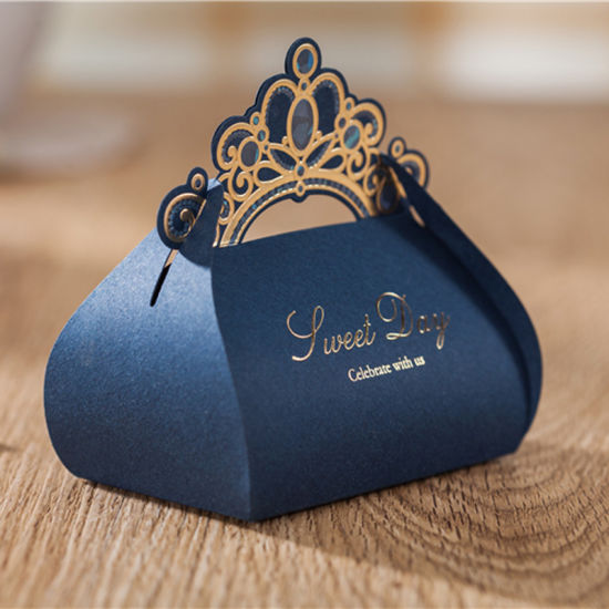 Luxury Navy Blue Candy <strong>Boxes</strong> Wedding Favor Box