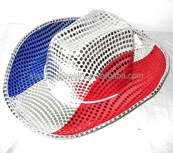 Patriotic France Sequin Cowboy Hat - Buy Patriotic Sequin Cowboy ... 40fa9954d59