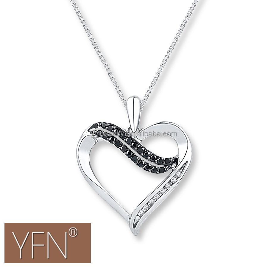 Charming Simple Design Diamond Heart Necklace Black/white Cz ...