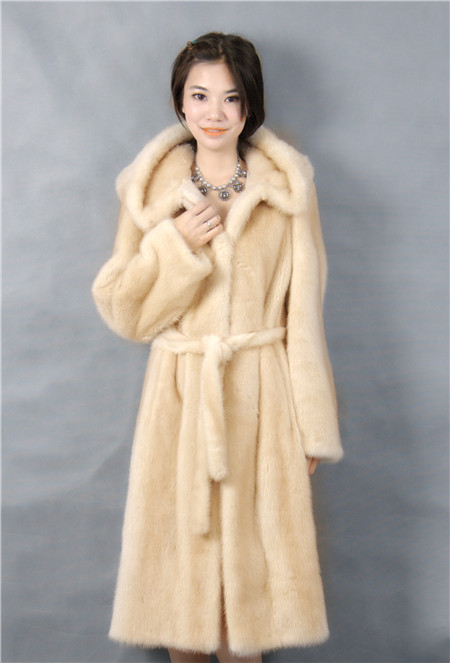 genuine mink fur coat yellow color with hood and pelt 105cm length 2016 winter woman fashion