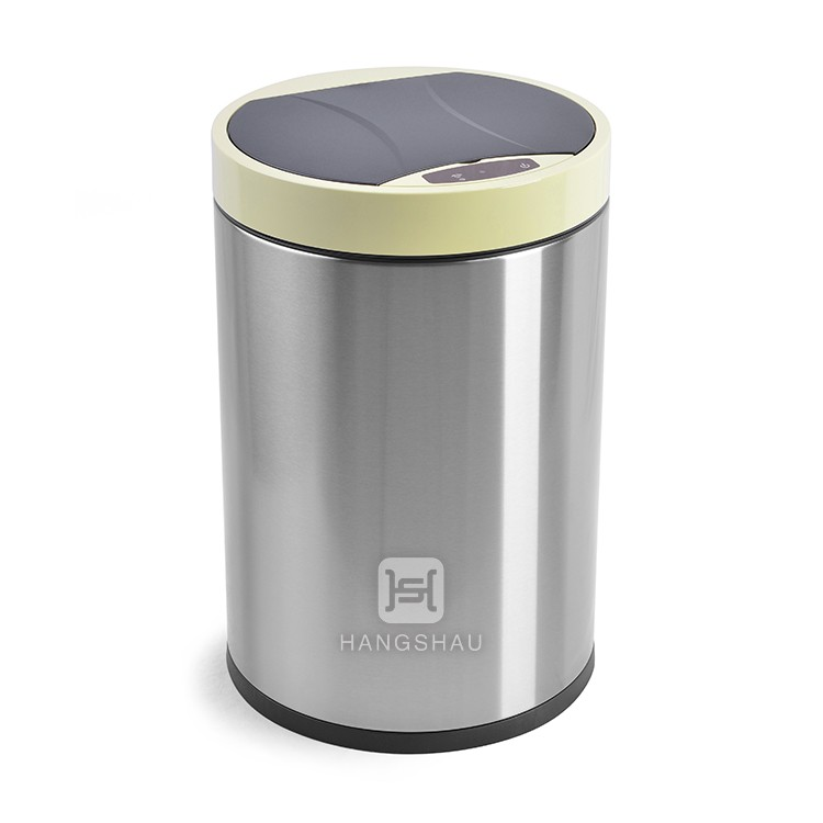 10L standing round yellow lid sensor trash can