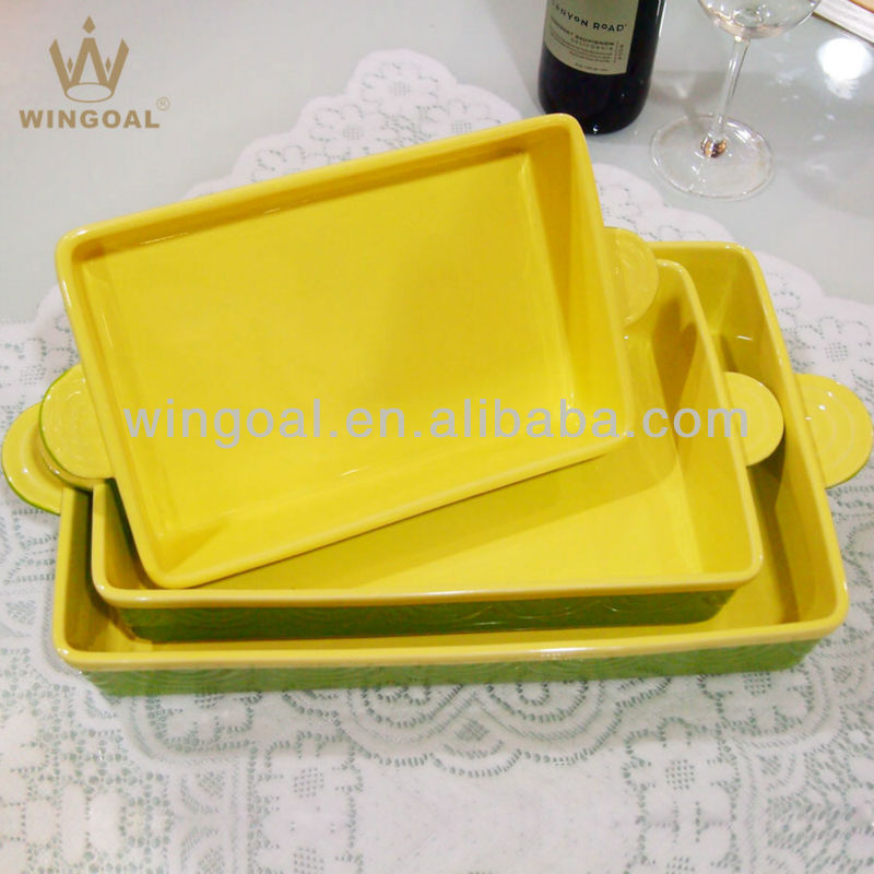 Ceramic and stoneware rectangular bakeware sets of 3