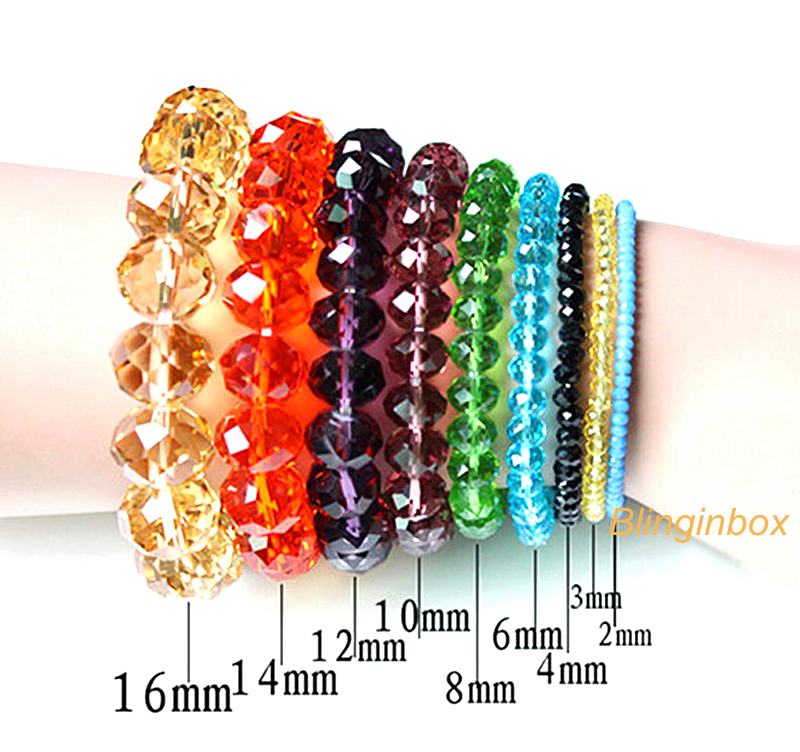 China wholesale mix color 4mm to 10mm faceted glass rondelle beads for necklace