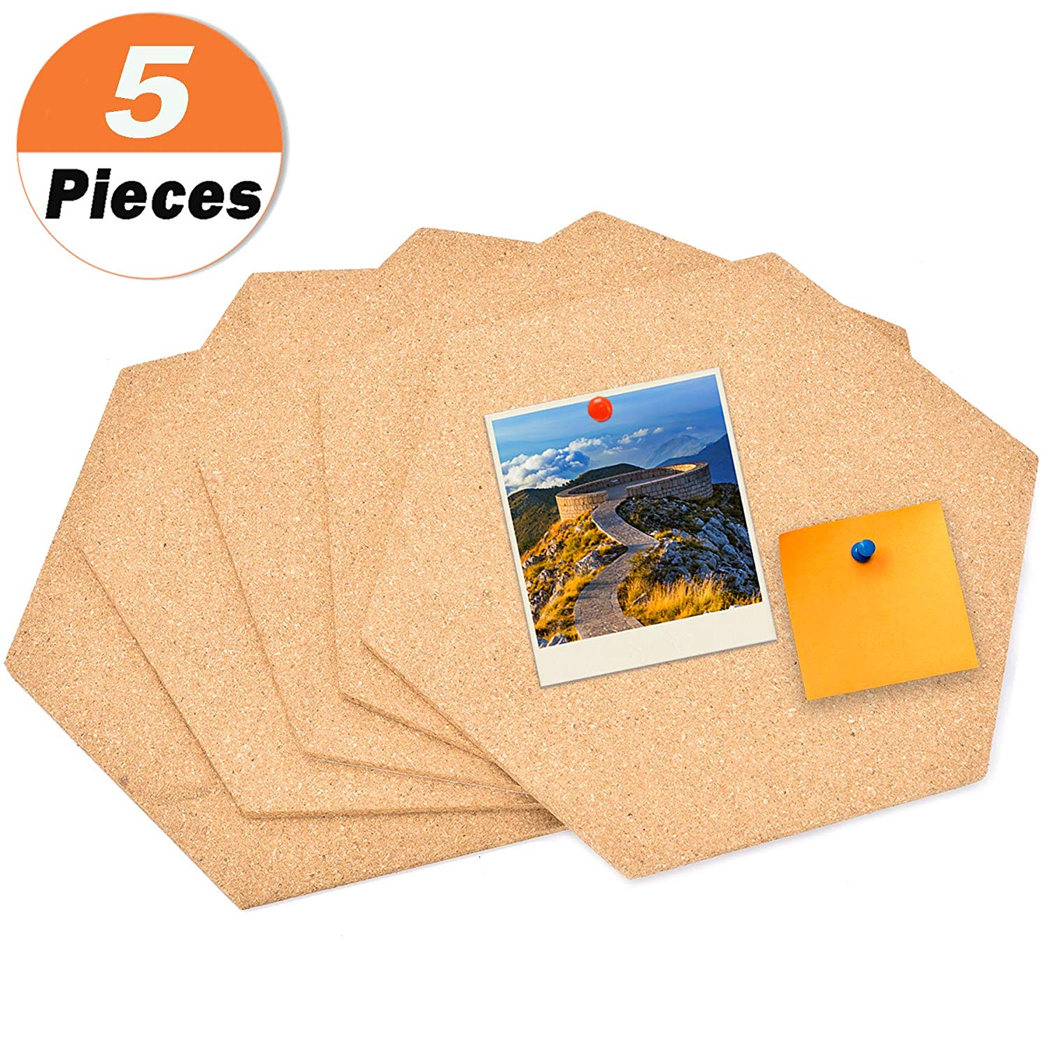 """5 Pack Hexagon Cork Board Tiles with Adhesive 11.8 by 10.2"""" - Buytra Mini Wall Bulletin Boards, Pin Board Decoration for Photos, Pictures, Sticky Notes, Drawing"""