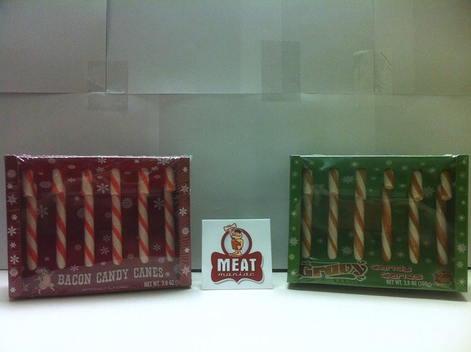 MEAT MANIAC Exotic Candy Canes Combo Gift Pack with Sticker- Bacon Candy Canes & Gravy Candy Canes