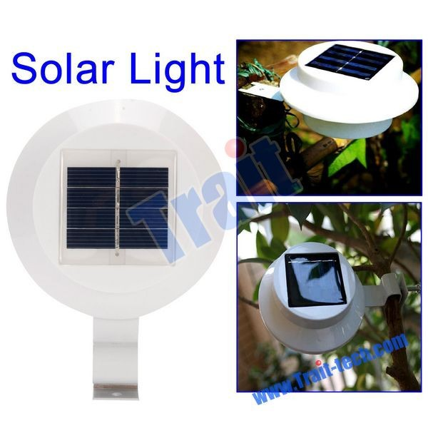 White Sun Power Smart LED Solar Gutter Night Utility Security Light for Indoor Outdoor House, Fence, Walkways