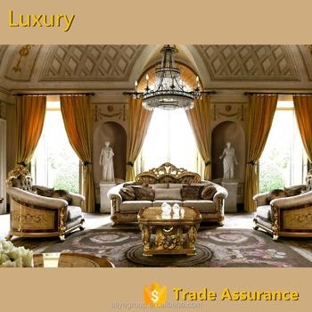 Gdm013 Decoration Furniture Sets Carved Wooden Luxury French Baroque Living Room Sofa Set