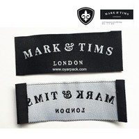 sew on clothes woven black label with custom logo
