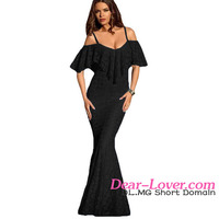 Cheap Ruffled Off Shoulder Black Mermaid dresses for women elegant evening