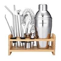 Hot sale wood bar set stainless steel cocktail shaker set