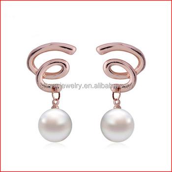 2017 New Arrival Korea High End Fashion Las Twisted Pearl Earrings Ep022