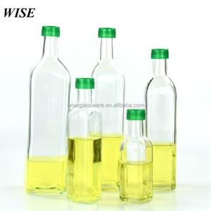 customer logo square oil packaging bottle oil vinegar glass bottle for olive oil