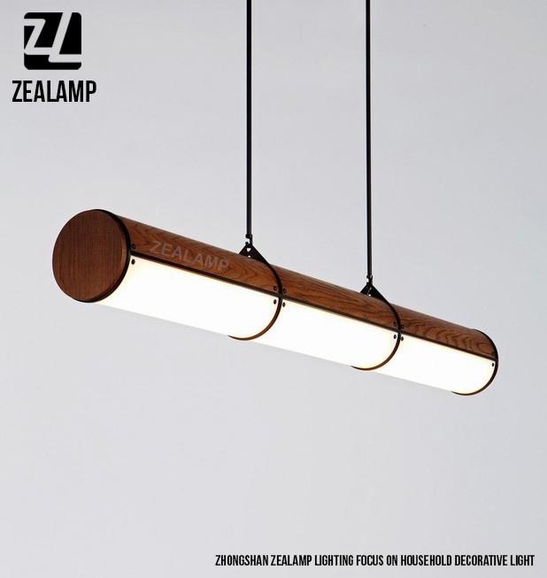 Endless Wooden Led Tube Pendant Lamp 3 Units Round Acrylic Tube ...