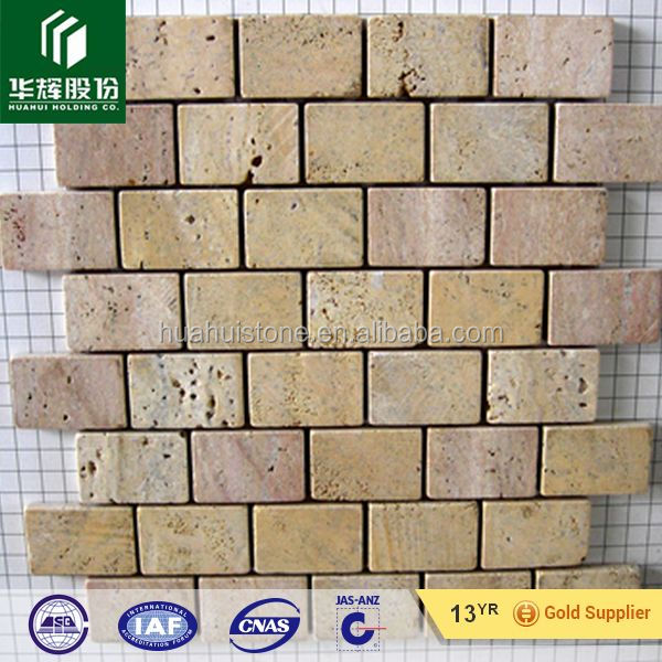 HHM-A093-250X270 Travertine Marble Mix Mosaic, Travertine and Glass Mosaic, Mosaic Travertine Tile