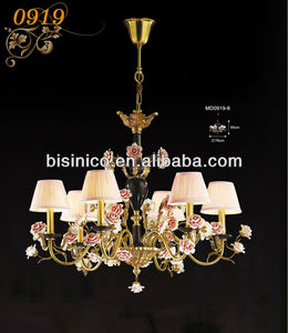 Gorgeous Romantic Porcelain rose chandelier, antique brass pendant lamp