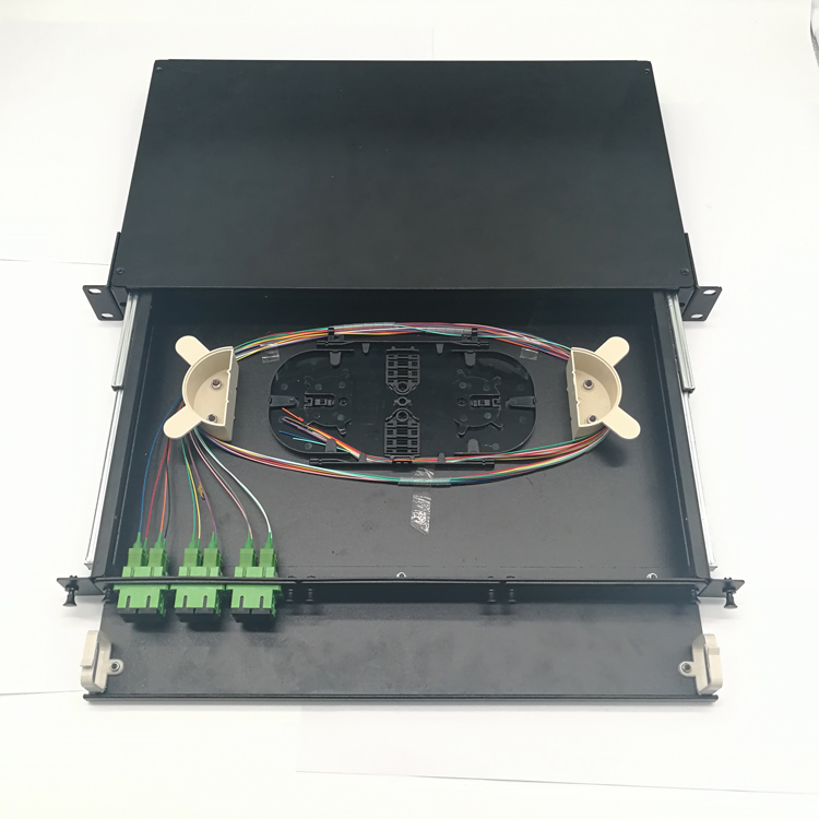1U Sliding Optical Distribution Frame (ODF) 24/12/8 Port Fiber Optic Patch Panel